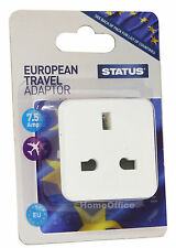Euro Travel Adapter UK 3 PIN Plug Converts to European 2 Pin Round