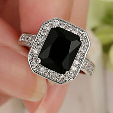 Jewelry Black Sapphire Crystal Size 6 Rings 10Kt White Gold Filled Wedding