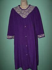 Vintage KELLY REED Womens Half Sleeve Purple Velour Bathrobe Size M