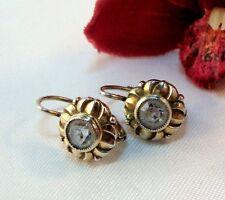 alte Ohrringe mit blauen Steinen 835 Silber mit Vergoldung Ohrringe / bg 616