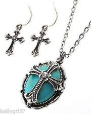 Necklace & Earrings Set, Turquoise Color Oval Cross Western Religious NWT #282-E