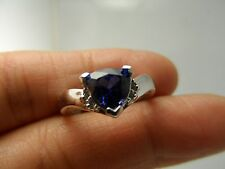 STUNNING  14K  lab created TANZANITE & DIAMOND RING SIZE 7  E11734-2