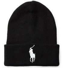ORIGINAL POLO RALPH LAUREN BIG PONY CUFFED BEANIE HAT. POLO BLACK, ONE SIZE, NEW
