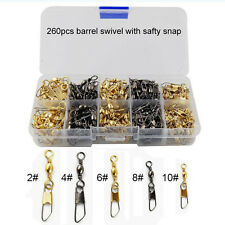 260Pcs Fishing Barrel Swivel with Safety Snap Accessories Tackle Connector Combo