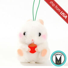 "Genuine 3"" Amuse Coroham Coron white Hamster mini Plush Strap Cute Mascot Japan"