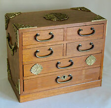 "JAPANESE TANSU JEWELRY BOX 6 DRAWER CHEST 12"" Wood, Brass Pulls Cornices Handles"