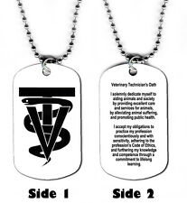 DOG TAG NECKLACE - Veterinary Technician's Oath Animals Vet Medical Cats Dogs