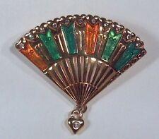 """Gold Tone Monet Fan Pin With Hearts 2"""" Brooch Rhinestones Green Orange Enamel"""