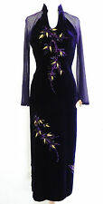 Vtg Formal Dress Tailor Made Pencil Style Gown With Purple Velvet and Mesh XS/S