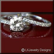2.50 CT FOREVER ONE MOISSANITE CUSHION MICRO PAVE ENGAGEMENT WEDDING SET RINGS
