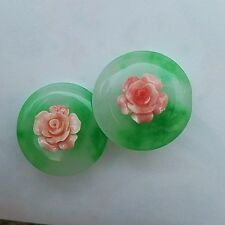 carved natural green jade, pink coral rose flower clip on earrings asian jewlery