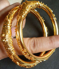 South Indian Gold Plated Nice Design Bangles Jewelry Bracelet 2.8'' Set A