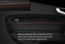 RED STITCHING 2X FRONT DOOR CARD TRIM LEATHER COVER FITS AUDI A1 10-15 3 DOOR