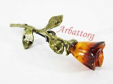 Russian Bronze Solid Brass Amber Female Vintage Brooch flower rose Small #244