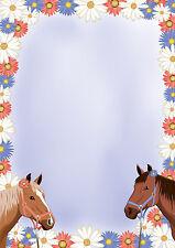zwei Pferde Motivpapier Briefpapier 20 Blatt DIN A4 Mädchen Kinder Pony Pferd