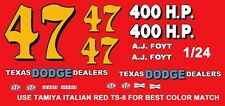 #47 AJ Foyt Texas Dodge Dealers 1964 1/25th - 1/24th Scale Waterslide Decals