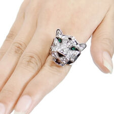 Leopard Panther Animal Cocktail Ring Size 8 Clear Austrian Crystal Enamel Gift