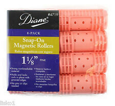 """Diane 4719  PINK  SNAP-ON  MAGNETIC  1-1/8"""" HAIR ROLLER   (8-PER PACK)"""
