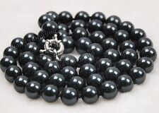 "10mm 24"" Black South Sea Shell Pearl Necklace AAA"