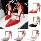 Women's Rivet Pointed Toe Stilettos High Heels Ankle Strap Shoes Sandals Pumps