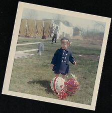 Vintage Antique Photograph Child With Easter Basket & Ball - Mom Hanging Laundry