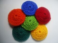 Pot Scrubbers Scrubbies Nylon Net Assorted Colors Set of 6 Handmade Crochet USA