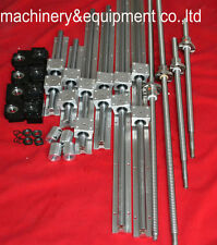 TOP3 LINEAR RAIL BEARING SBR SETS+4PCS BALLSCREW+4BK/BF12+COUPLERING FOR CNC XYZ