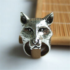 1pcs Antique Silver Wolf Head Retro Punk Ring For Fashion People
