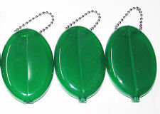3  GREEN RUBBER SQUEEZE COIN HOLDER KEYCHAIN MONEY CHANGE PURSE OVAL DURABLE NEW