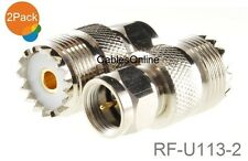 2-Pack F-Type Male Plug to UHF PL259 Female Jack Adapter, CablesOnline RF-U113-2