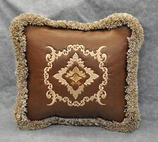 Faux Tooled Embroidered Western Pillow made w Faux Brown Leather Fabric w fringe