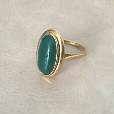 Bague Ancienne Cabochon Pierre Verte Plaqué Or TDD 57 Ring Gold Filled