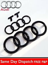 AUDI TT GLOSS BLACK BADGE AND REAR & FRONT RINGS BADGE EMBLEMS BONNET BOOT