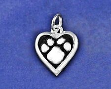 Paw Print Heart Charm Pendant Pawprint Jewelry Pet Dog Cat Sterling Silver Pl