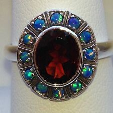 Sterling Silver Garnet And Opal Ring.  Size 6 3/4