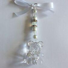 Personnalisé hand made baby blanc teddy landau charm girl/boy keepsake/cadeau