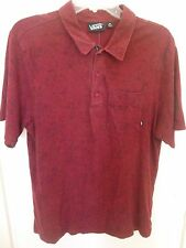 VANS POLO SHIRT SIZE MEDIUM COTTON BURGANDY WITH BLACK