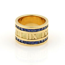 Tiffany & Co. Sapphires 18K Yellow Gold 12mm ATLAS Numerical Band Ring-Size 5.75