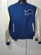 Vtg. Detroit Lions Football Blue Wool W/ Stitched Lion Varsity Jacket LG Men