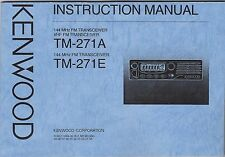 NEW Kenwood TM-271A/TM-271E Instruction Manual Book in English