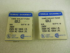 FERRAZ SHAWMUT GDL3 TIME DELAY FUSES 3A 250V (SET OF 10) NEW CONDITION IN BOX