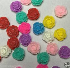 20 x 12mm SPARKLY resin rose flower flat back cabochon Assorted colours FREEPOST