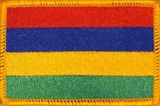 MAURITIUS Flag Military Patch With VELCRO® Brand Fastener Gold Border