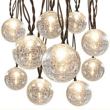allen + roth 8.5-ft 10-Light White Crackle Glass Shade String Rope Lights