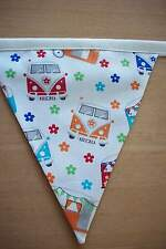 Retro campervan hand made fabric bunting 13 flags double sided 7ft    FESTIVALS