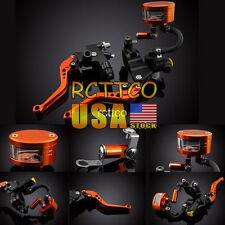 """Universal 7/8"""" Brake Clutch Lever Master Cylinder Set Reservoir For Honda Yamaha"""