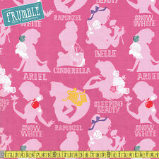 Camelot Fabric Disney Princess Cameo in Pink PER METRE Ariel Snow White Cinderel