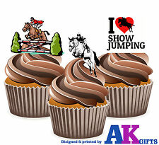 12 X I Love Show Jumping Horse Riding Mix EDIBLE WAFER CAKE TOPPERS STAND UPS