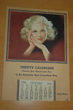 RARE CALENDRIER PUBLICITAIRE AMERICAIN 1946 ADVERTISING CALENDAR PIN-UP