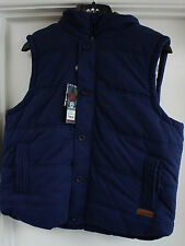Urban Beach Mens Body Warmer Gilet - Large - Blue with Grey Hood